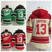 jersey de la sudadera con capucha del hockey de detroit al por mayor-Enchufe de fábrica, sudaderas con capucha Hockey sobre hielo Jersey Jerseys Detroit Red Wings # 13 Sudadera con capucha Pavel Datsyuk Logotipos de bordado