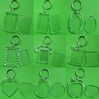 Wholesale square digital photo frame - Rectangle Heart Round Styles Transparent Blank Acrylic Insert Photo Picture Frame Keyring Keychain DIY Split Ring Gift