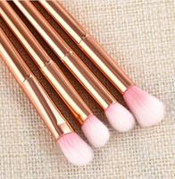 макияж порошок для продажи оптовых-4pcs different size Nylon/plastic Rose gold Makeup Brushes Set for Foundation Powder Eyeshadow Eyeliner Lip Brush Tool hot sale