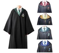4t halloween kostüme großhandel-Neue Harry Potter Robe Gryffindor Cosplay Kostüm Kinder Erwachsene Harry Potter Robe Umhang Halloween Kostüme Für Kinder Erwachsene