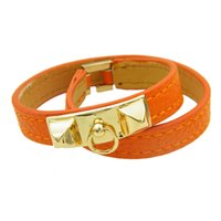 Wholesale multilayer bracelets online - Vintage Multilayer Pu Leather Lover H Bracelets for women Cuff bangles Men gold buckle Wristband Pulseras Hombre Male Tangerine Jewelry