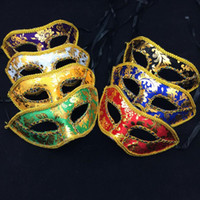 Wholesale face mask rhinestones resale online - Half Face Rhinestone Lace Mask Venice Mask Halloween decoration christmas Party Ball Mask Masquerade Dance