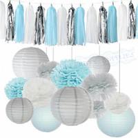 ingrosso lanterne di carta blu-1 Set Boy Baby Shower Decoration Kit Azzurro Bianco Carta velina Pom Pom Lanterne Ghirlande Tassel per Frozen Tema Party