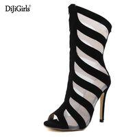 ba56186218f17 chaussure talon noire achat en gros de-Bottes d été mode talons noir peep