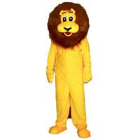 sarı aslan maskot kostüm toptan satış-yetişkin sirk yılbaşı Cadılar Bayramı Kıyafet Fantezi Elbise Takım Elbise Ücretsiz Nakliye için 2019New kaliteli Sarı Lion Maskot kostüm