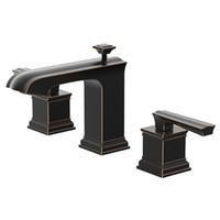 aceite frotado bronce lavabos de baño al por mayor-Grifería de baño con baño de bronce perforado con tres orificios Grifo de baño con grifo extensible, Grifería de baño con dos manijas