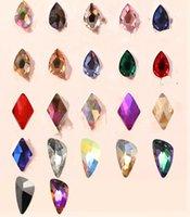 tipos de vidrio de piedra al por mayor-Nail Art Rhinestones 50Pcs / Pack Clear y Crystal AB en forma plana varios tipos Lágrima piedras de cristal para uñas 3D Decora