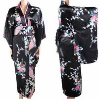 ingrosso vestito dal costume del giapponese-Abito orientale per le donne V-neck Peacock Gown Evening Party Dress Tradizionale Kimono giapponese Yukata con costumi Obi Cospaly