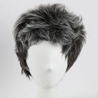 estilos de cabelo cinzento venda por atacado-Estilo Natural Cinza Ondulado Curto Perucas Americano Africano Cabelo Sintético Perucas Completas para Os Homens Resistente Ao Calor Cabelo Sintético Perucas Cosplay