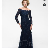 Wholesale Contrast Pictures - Long Sleeve Lace Mother of the Bride Dress