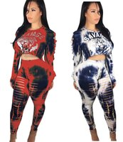 Wholesale head ski women - Women Tracksuit Long Sleeve Tiger Head Print Sweatshirts Casual Pink Clothing 2 PCS Set Tops+Pants Leggings with Holes Christmas Sport Suit
