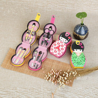 Wholesale doll nail resale online - Cute Japanese Russian Doll Shape Stainless Steel Nail Cuticle Clipper Scissors Pedicure Manicure Cleaner Grooming Kit Case Tool with Case