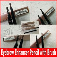 Wholesale hot ends - Hot Eyebrow Pencil Eyebrow Enhancer Eyebrow Makeup Skinny Brow Liner with brush double ended eye comestic tool