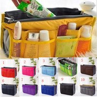 Wholesale mp4 cases - Women Insert Handbag Purse Multi-function Makeup Bag Cosmetic Case Tidy Travel Storage Bags Sundry MP3 Mp4 Bags Pouch Tote 14 colors C2861