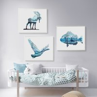 pictures forests 2018 - Bianche Wall Blue Watercolor Animals Perspective Forest Canvas Painting Art Print Poster Picture Wall Painting Home Decor