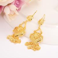 Wholesale ethiopian jewelry - Dubai Gold Color Plus Big Size Wedding Tassel Earring for Ethiopian Arab Inidan Nigerian Women girls Party bridal Jewelry gift
