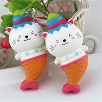 Wholesale living room curtains sale - Simulation PU Squishy Jumbo Scented Anti Stress Vent Toys Cat Head Mermaid Shape Squishies Slow Rising Hot Sale 13 5ca X