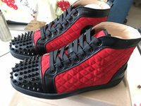 Wholesale genuine software - Wholesale Red Bottom Sneakers Luxury brand red high top software Mens Womens Casual Shoes leather slip-on unisex zapatillas deportivas