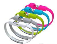 iphone usb bracelet achat en gros de-Universel 22CM Creative Bracelet Bracelet Chargeur Câble Micro USB Données Ligne Courte Sync Cordons Haute Vitesse pour Motorola Samsung S8