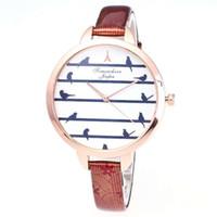 женские кожаные наручные часы оптовых-Ladies Fashion Golden Case Casual Small Womens Quartz Bird Pattern Dial Watch Thin PU Leather Watchband Strap Relogio SaatSimple