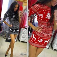 ingrosso punti gonne di vestiti-Natale gonna Slim manica cervi del vestito dalla stampa che cuce i vestiti delle donne di modo di stampa per 2 colori diversi