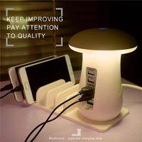 Wholesale Led Apple Lamp - 5 Ports Quick Charge 3.0 USB Smart Phone Charger Fast Charging Station 5V 2.1A Dock Power Adapter Mushroom LED Desktop Lamp