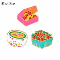 Wholesale denim shirts for girls - Cartoon gift box cookies strawberry rainbow bowl pins Brooch Denim Jacket Pin Buckle Shirt Badge Gift for Kids girls