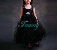 vestido de princesa de longitud de té negro al por mayor-Nueva princesa elegante negro sin mangas de niña de las flores vestidos de té longitud niñas vestido de comunión de los cabritos formales vestidos de fiesta de la boda