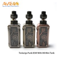 Wholesale Punk Tanks - Authentic Tesla Punk 85W Kit with H8 Mini Sub Ohm Tank Powered by Single Battery Atomizer Comes with E8 and E2 Coil