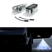 ingrosso ombra bmw-Facile installazione Car Door LED Logo Proiettore luci fantasma ombra per BMW 2pcs 1 Set con cavo adattatore