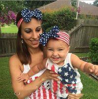 ingrosso stelle dei capelli accessori-Neonato americano stelle strisce bandiera fascia nazionale giorno bambini arco elasticità fascia per capelli accessori per capelli b913