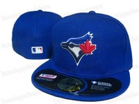 Wholesale fields fashion - Toronto Royal Blue Color On Field Style Baseball Fitted Hats Sport Team Logo Embroidered Full Closed Caps Out Door Fashion Bones
