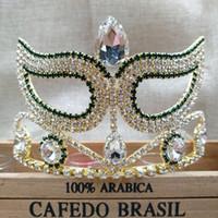 costume de tiare à cheveux achat en gros de-3.5inch Grand pageant masque mascarade événement costume bande de cheveux Tiara Crown or vert couronne De Mariage De Mariée