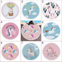 Wholesale Mat For Beach - 150CM Unicorn Round Beach Towel 2018 New Bohemian towelling cloth Towels Round Printed Serviette Covers for Summer Yoga Beach mat B001