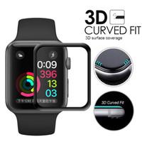 matte uhren großhandel-Displayschutzfolie für Apple Watch Series 4/3/2/1 Oberflächenhärte Vollflächig klebend Hartglas-Displayschutzfolie - Schwarz