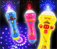 Wholesale Funny Christmas Flash - LED Flashing Karaoke Singing Microphone Pig Toy Sky stars Projection Ball Light Kids Magic stick Funny Gift for Children Pig Light Stick