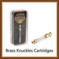 coups de poing américains en laiton achat en gros de-HOT Brass Knuckles Cartouches d'or Bobine de céramique et de coton 0.5 ml 1.0 ml 510 réservoir atomiseur huile épaisse avec des autocollants de saveur