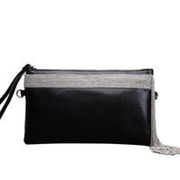 конструкция конверта мешка оптовых- design Star with the same bag women clutch bag genuine leather purse shoulder tassel envelope women handbag