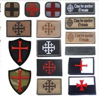 Wholesale knights cross - bag charm Embroidered Patch Knights Templar Teutonic Knights Medic Cross Tactical Fastener Hook & Loop Patch Emblem Morale Badges