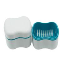 invólucro dental venda por atacado-Materiais odontológicos Caixa de Dente Funil Caso Dentadura Recipiente de Limpeza de Dentes Falsos Equipamentos Médicos Brancos Venda Quente 3 5wd gg