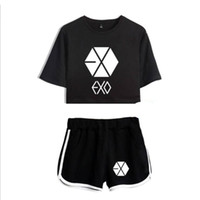 exo shirt white 2018 - KPOP Korean EXO Crop Top T Shirt+Short Pants Tracksuit For Women 2 Piece Set Fitness Shorts Two Piece Outfits Casual Suits