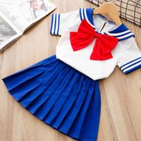 Wholesale kawaii chiffon dress for sale - Japanese Anime Kid Baby Girls Sailor Moon Cosplay Bowknot Dress Kawaii Lolita Uniform Children Halloween Party Lovely Costume