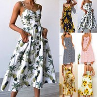 Wholesale floral cocktail dresses - Women's Summer Boho Casual Long Maxi Evening Party Cocktail Beach Dress Sundress Print Flower Sleeveless Sexy Backless Strap Dress