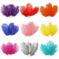 accesorios de plumas de avestruz al por mayor-Plumas de avestruz baratas 15 cm-20 cm de color de avestruz bricolaje joyería que hace del banquete de boda accesorios de decoración