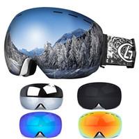 anti uv maskesi toptan satış-Erkekler Kadınlar Kış Kar Sporları Kayak Gözlükleri Snowboard Gözlüğü Anti-Sis Uv 400 Korumaları ile Çift Lens Pateni Maskesi Gözlük