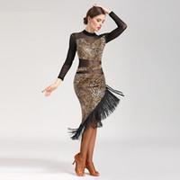 ingrosso vestiti di stampa nero del leopardo-nero rosso Leopard stampa nappa vestito latino donne latino concorso di ballo abiti samba rumba tango vestito da ballo donne