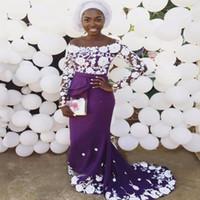 lila langes kleid weiße spitze großhandel-Aso Ebi Long Sleeves Abendkleid Scoop Lila Satin Weiß Spitze Meerjungfrau Prom Kleider Langer Reißverschluss Zurück Afrikanische Abendkleider Abendkleidung