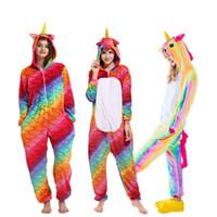 горячие кигуруми оптовых-2018 HOT Winter Animal Pajamas Set Kigurumi Adult Unisex Women Pajamas Cartoon Sleepwear Flannel Homewear Unicorn Pyjama Pikachu