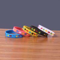 otizm bilezikleri toptan satış-Perakende Paketi Renkli Otizm Farkındalık Silikon Bilezikler Bu Renkli Bilezik Giyerek Günlük Hatırlatma İçin Harika