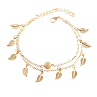 Wholesale Silver Gold Double Layer Tassel Leaf Anklets Bracelets Beach Foot Chain Fashion Jewelry for Women Drop Ship